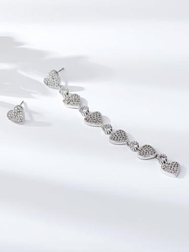 Silver Brass Cubic Zirconia Heart Minimalist Drop Earring