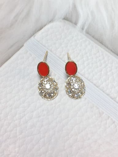 Red Brass Cubic Zirconia Acrylic Oval Dainty Stud Earring