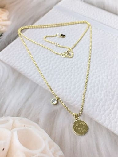 Gold 925 Sterling Silver Cubic Zirconia Round Dainty Beaded Necklace