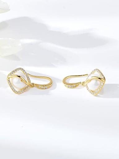 Gold Zinc Alloy Imitation Pearl Irregular Trend Hook Earring