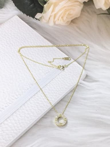 Gold 925 Sterling Silver Cubic Zirconia Round Dainty Initials Necklace