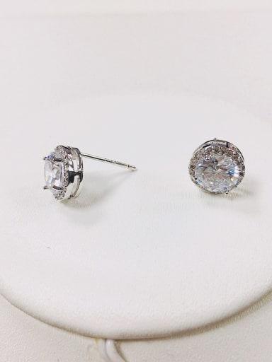 Silver Brass Cubic Zirconia Round Dainty Stud Earring