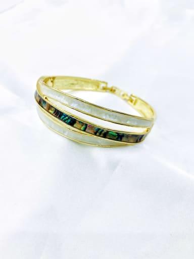 Gold Zinc Alloy Shell Multi Color Minimalist Band Bangle