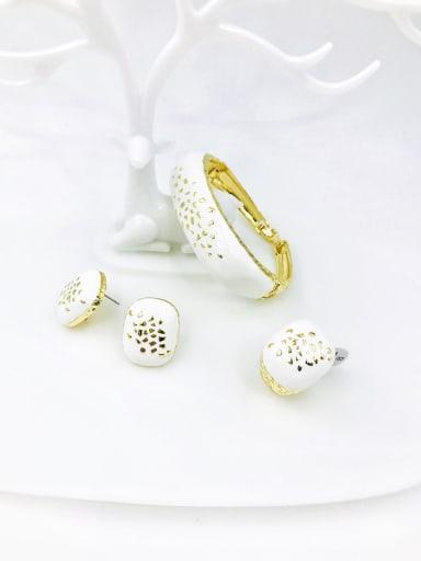 White Zinc Alloy Enamel Minimalist Rectangle Ring Earring And Bracelet Set