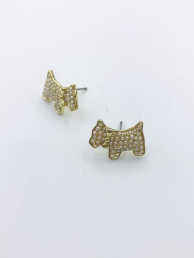 Gold Zinc Alloy Imitation Pearl White Dog Dainty Stud Earring