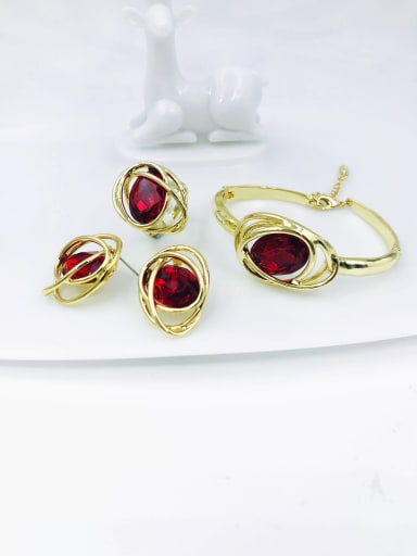 gold+red glass stone Zinc Alloy Glass Stone Red Trend Irregular  Ring Earring And Bracelet Set