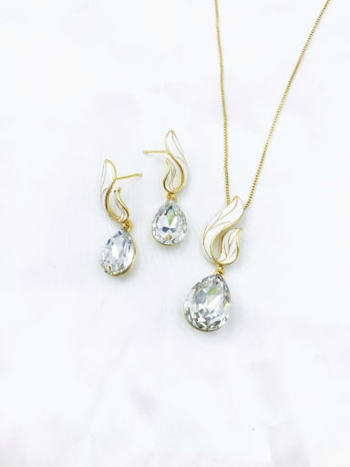 gold+clear stone Dainty Water Drop Zinc Alloy Glass Stone Champagne Enamel Earring and Necklace Set