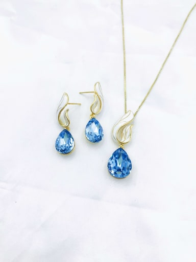 gold+blue stone Dainty Water Drop Zinc Alloy Glass Stone Champagne Enamel Earring and Necklace Set
