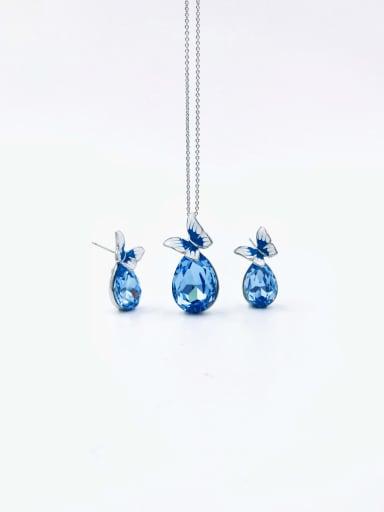 silver+blue stone Dainty Butterfly Zinc Alloy Glass Stone Purple Enamel Earring and Necklace Set