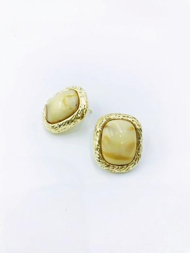 Beige Zinc Alloy Resin Black Rectangle Minimalist Stud Earring