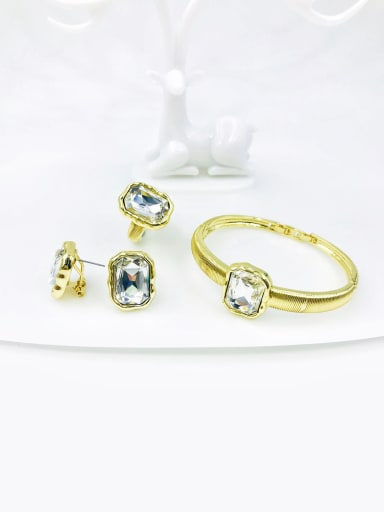 Clear Zinc Alloy Glass Stone Clear Minimalist Geometric Ring Earring And Bracelet Set
