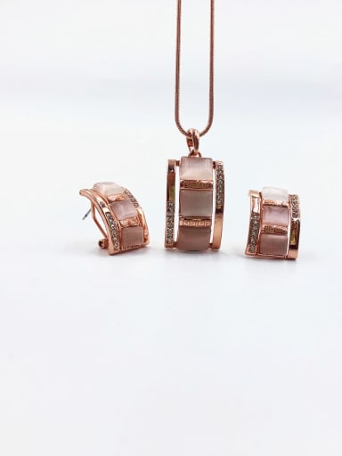 Rose Classic Rectangle Zinc Alloy Cats Eye White Earring and Necklace Set