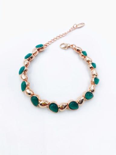Green Zinc Alloy Cats Eye White Water Drop Minimalist Bracelet