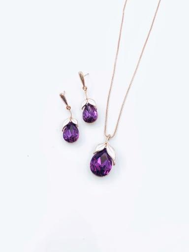 Purple Dainty Water Drop Zinc Alloy Glass Stone Purple Enamel Earring and Necklace Set
