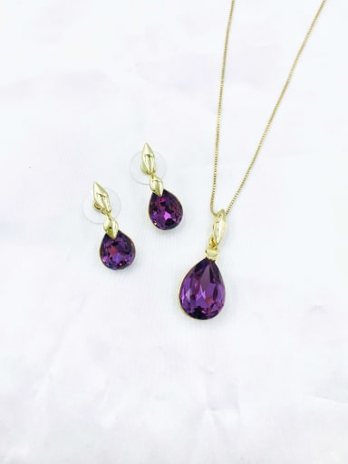 Purple Minimalist Water Drop Zinc Alloy Glass Stone Red Earring and Necklace Set