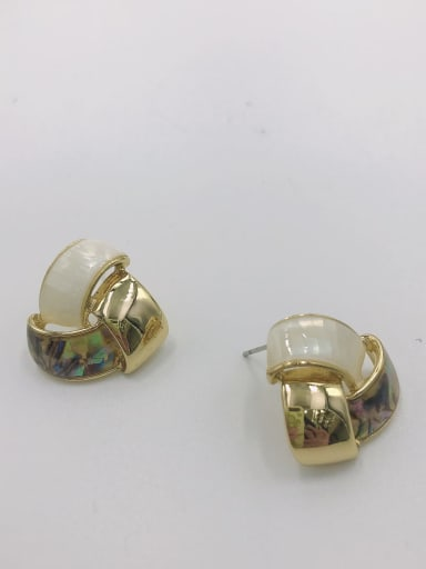 Gold Zinc Alloy Shell Multi Color Irregular Minimalist Stud Earring