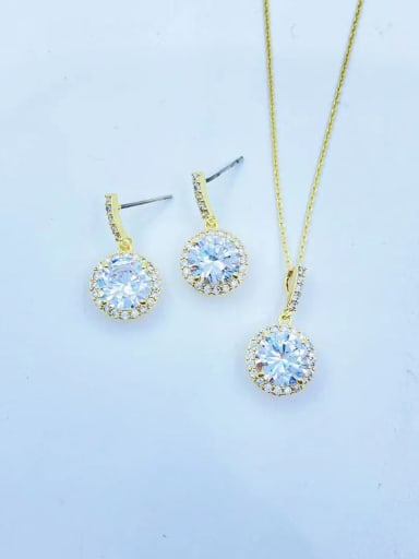 Gold Minimalist Round Brass Cubic Zirconia Clear Earring and Necklace Set