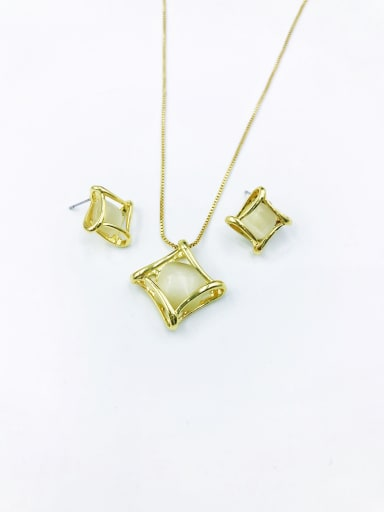 Gold Minimalist Square Zinc Alloy Cats Eye White Earring and Necklace Set