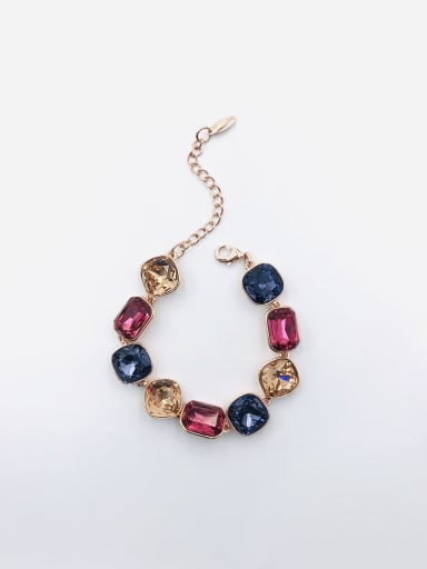 ROSE GOLD+PURPLE+RED+CHAMPAGNE Zinc Alloy Glass Stone Multi Color Geometric Trend Bracelet