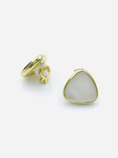 Gold Zinc Alloy Shell White Triangle Minimalist Clip Earring