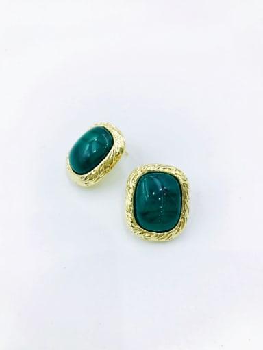 Green Zinc Alloy Resin Black Rectangle Minimalist Stud Earring