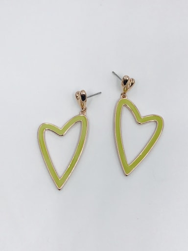 ROSE GOLD+GREEN Zinc Alloy Enamel Heart Minimalist Drop Earring
