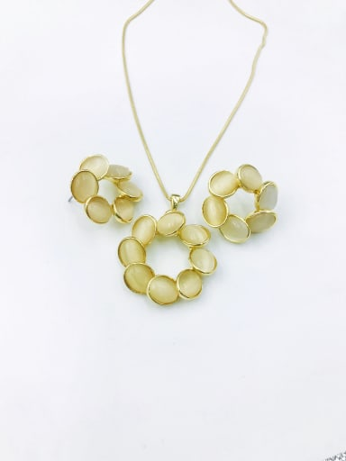 gold+white stone Statement Geometric Zinc Alloy Cats Eye White Earring and Necklace Set