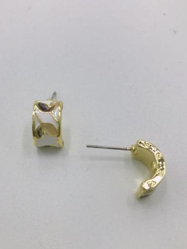 Gold Zinc Alloy Shell Multi Color Enamel Irregular Dainty Stud Earring