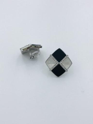 Silver Zinc Alloy Shell White Acrylic Geometric Trend Clip Earring