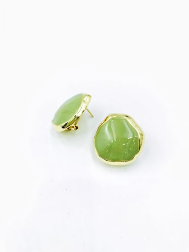 Green Zinc Alloy Enamel Irregular Minimalist Clip Earring