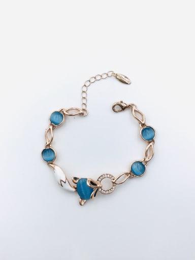 Blue Zinc Alloy Cats Eye Blue Enamel Fox Trend Bracelet