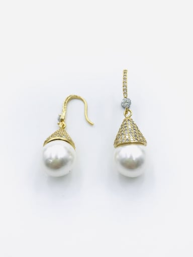 Gold Brass Imitation Pearl White Water Drop Dainty Hook Earring