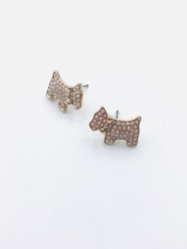 Rose Zinc Alloy Imitation Pearl White Dog Dainty Stud Earring