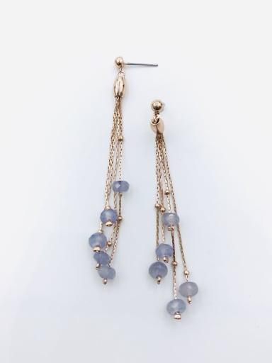 Rose Zinc Alloy Crystal Purple Tassel Trend Drop Earring