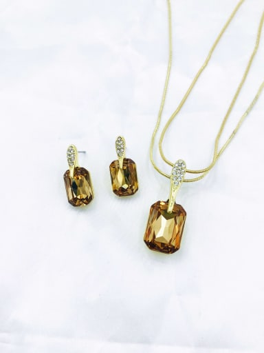 brown Classic Geometric Zinc Alloy Glass Stone Champagne Earring and Necklace Set