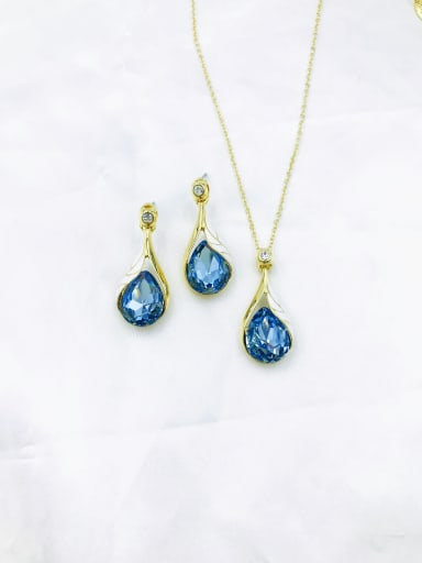 gold+blue Trend Water Drop Zinc Alloy Glass Stone Blue Enamel Earring and Necklace Set