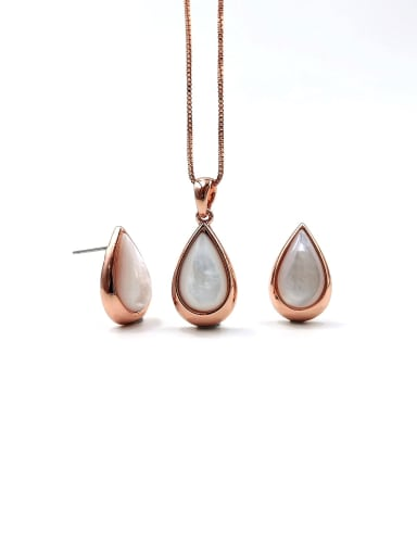 Rose Minimalist Water Drop Zinc Alloy Shell White Earring and Necklace Set