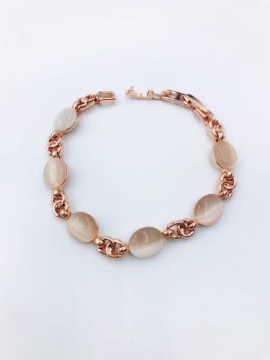 Rose Zinc Alloy Cats Eye White Oval Minimalist Bracelet