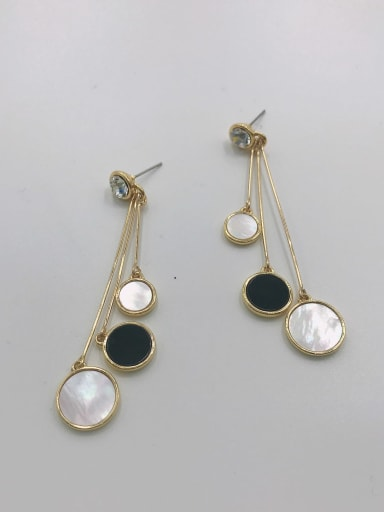 Gold Zinc Alloy Shell White Acrylic Round Trend Drop Earring