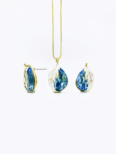 gold+blue stone Trend Water Drop Zinc Alloy Glass Stone Blue Enamel Earring and Necklace Set