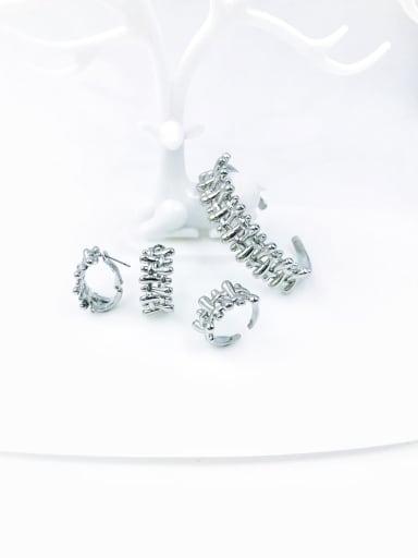 imitation rhodium Brass Minimalist Irregular Ring Earring And Bracelet Set