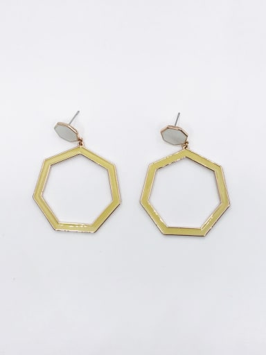 ROSE GOLD+WHITE+GREEN Zinc Alloy Enamel Geometric Minimalist Drop Earring