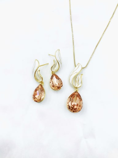 Gold+Champagne stone Dainty Water Drop Zinc Alloy Glass Stone Champagne Enamel Earring and Necklace Set