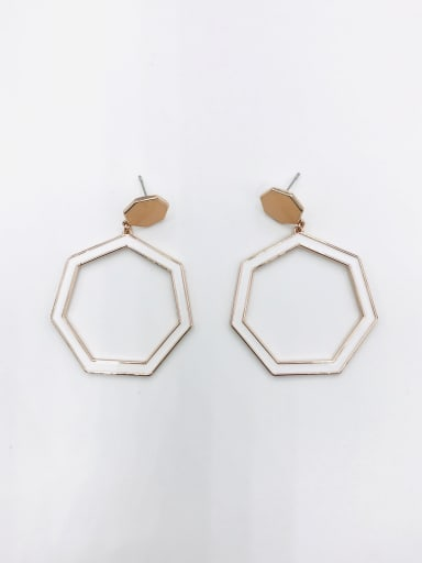 ROSE GOLD+ORANGE+WHITE Zinc Alloy Enamel Geometric Minimalist Drop Earring
