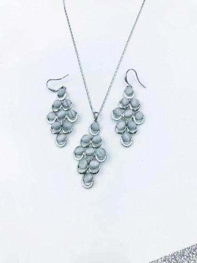 imitation rhodium Trend Geometric Zinc Alloy Cats Eye White Enamel Earring and Necklace Set