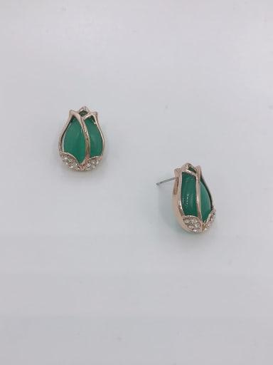 Green Zinc Alloy Cats Eye White Flower Trend Stud Earring