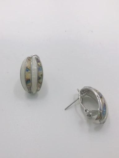Silver Zinc Alloy Shell Multi Color Minimalist Clip Earring