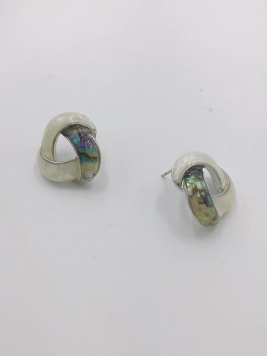 Silver Zinc Alloy Shell Multi Color Geometric Minimalist Stud Earring