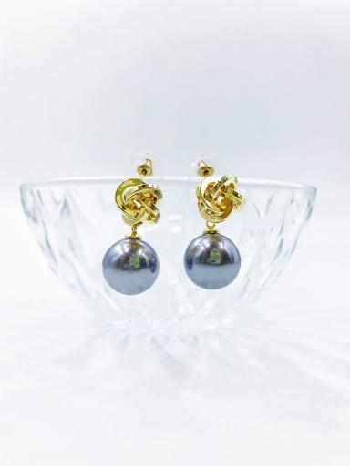 Gray Brass Imitation Pearl White Irregular Classic Drop Earring