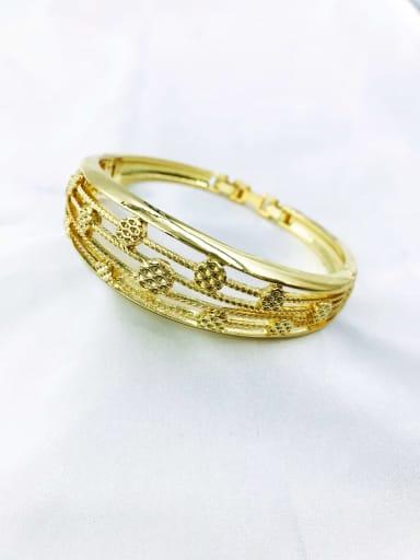 Gold Zinc Alloy Geometric Trend Band Bangle